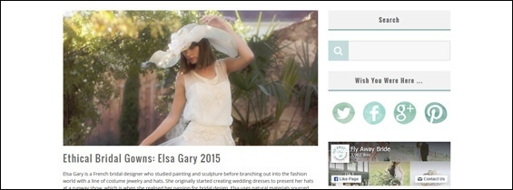 Article sur la collection Elsa Gary 2015 sur le blog anglais « Fly Away Bride »