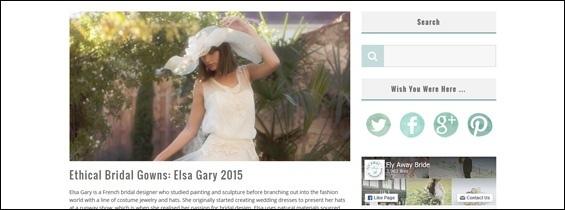 Article sur la collection Elsa Gary 2015 sur le blog anglais «Fly Away Bride»