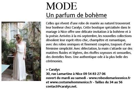 Article Fémina Hebdo : «Caralys Nice, un parfum de bohème»