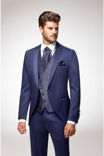 Costume de mariage 5 pièces coordonnées bleu roi