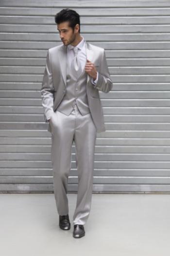 Costume de mariage 2 pièces coordonnées gris clair soldé