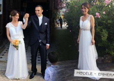 """Axelle et Grégory: Mariage le 15 juin 2018 avec le modèle Emmeraude et un costume 3 pièces redingote marine. """"Merci beaucoup pour votre message ! Tout s est bien déroulé, Greg était très beau ;) ."""" Axelle"""