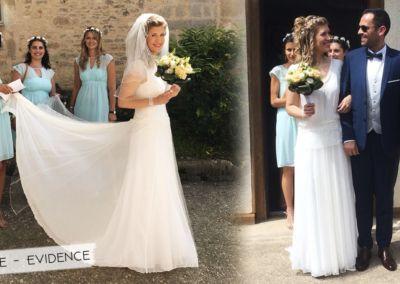 """Carole : Mariage le 2 juin 2018 avec le modèle Evidence. """"Bonjour, je me remets tout doucement ! La robe a fait sensation !! Tout était parfait ! Merci beaucoup!""""Carole"""