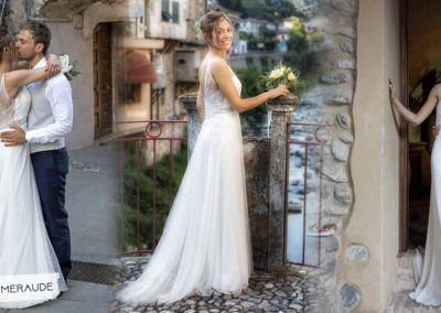 """Mariage le 21 Juillet 2018 avec le modèle Emmeraude. """"Ce fût une journée inoubliable dans le petit village de TOURTOUR. Ma robe a fait l'unanimité , je me suis sentie merveilleusement bien et belle. Merci pour vos bons conseils. Vous faites partie à jamais de nos bons souvenirs. Bien à vous."""" Marie-laure"""