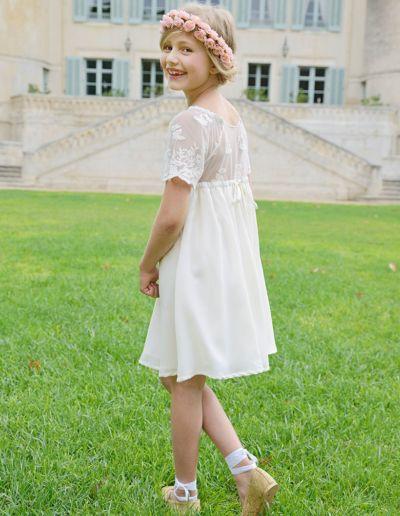 Robe de demoiselle d'honneur et de communion - ivoire - Caralys Nice - Alpes Maritimes (06)
