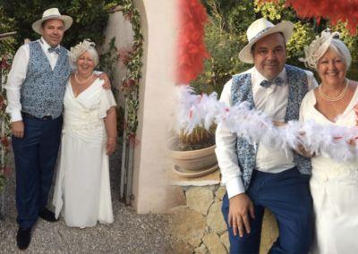 Monique et Laurent: : Mariage le 22 Septembre 2018 avec une robe de cocktail et un costume 3 pièces.