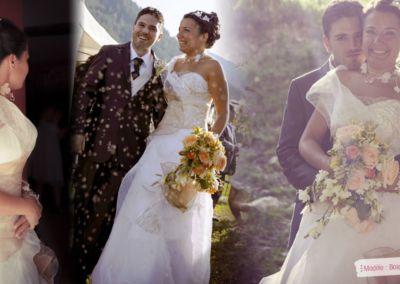 Audrey : Mariage le 27 Juillet 2013 à Mougins avec le modèle bois de Rose. « C'est avec un grand professionnalisme, une patience sans limite et avec beaucoup de gentillesse que Gabriella nous a reçus, chacun de notre côté afin de nous vêtir de tenues inoubliables. La robe de mariée a reçu de nombreux éloges quant aux matières, couleurs et à l'harmonie de l'ensemble. La robe a été très agréable à porter. Le costume a pu être choisi de A à Z par le marié et guidé par Gabriella pour être en parfait accord avec la robe. Encore un immense merci à Gabriella pour tout ce qu'elle a fait durant cette année de préparation, aux cours des essayages… » Audrey