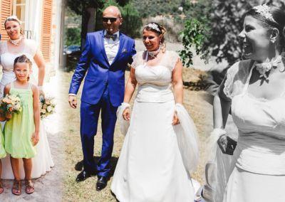 Aude et Franck : Mariage le 11 Juillet 2015 à Sospel avec le modèle Victoria et un costume prêt à porter. Comme promis voici quelques photos de notre belle journée, ce fut magique !! La robe et le costume ont eu énormément de succès !! Les chaussures bleues aussi !! Encore merci pour votre accueil, vos conseils et votre gentillesse. Aude et Franck