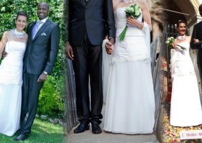 Audrey, mariée le 23 Juin 2012 dans la région niçoise avec le modèle Madonne. « Bonjour Gabriella, Je souhaitais vous remercier car ma robe était parfaite, les accessoires aussi, enfin tout!! Je n'ai eu que des compliments. Petite anecdote: j'ai croisé le 23 juillet (1 mois pile apres le mariage), une serveuse du restaurant de notre mariage qui s'est rappelé de moi par rapport à ma robe! Elle m'a dit j'en ai vu des robes mais celle-ci elle était magnifique!! Apparemment même le cuisto du restaurant n'a pas arrêté de me regarder en disant: qu'est ce qu'elle est belle la mariée!! Plus de doute possible c'est celle qu'il me fallait;) Je tenais à vous remercier pour votre accueil et votre gentillesse, car vous avez également contribué à ce que ce jour soit gravé en nous. J'ai eu du mal à enlever la robe tellement je me sentais bien, finalement c'était trop court!!! Merci encore pour tout. Bonne continuation et je ne manquerai pas de vous recommander! Audrey R. »