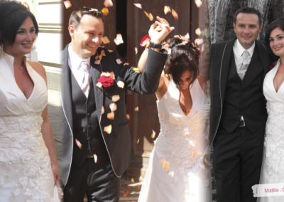Aurélie : Mariage le 11 aout 2012 à Nice avec le modèle Gladys. « Ma robe était vraiment parfaite, agréable à porter, et mon mari l'a adorée! Merci pour les essayages, votre gentillesse et vos conseils. Bien amicalement, Aurélie »