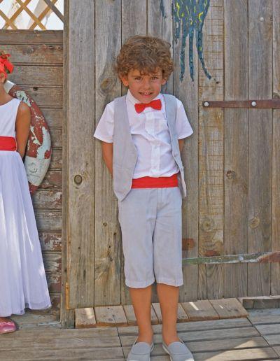 Ensemble gilet + bermuda mariage gris perle petit garçon - Caralys Nice - Alpes Maritimes (06)