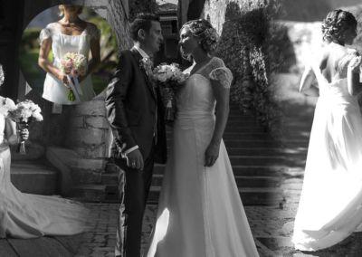 """Caroline: Mariage le 3 Septembre 2016 avec le modèle Elisa. """" Je tiens à vous remercier pour vos conseils et votre gentillesse , la robe était juste magnifique très agréable à porter, sobre et avec sa dentelle il y avait une touche de romantisme. Elle était parfaite pour ce jour si parfait."""" Caroline"""
