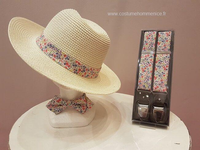Chapeau panama, bretelles et  noeud papillon fantaisie  - réalisables dans 300 coloris - Caralys Nice - Alpes Maritimes (06)