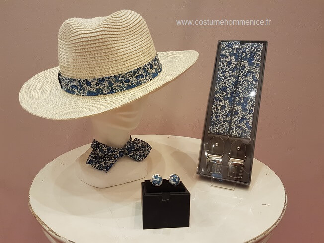 Chapeau panama, bretelles, noeud papillon et boutons de manchettes fantaisie  - réalisables dans 300 coloris - Caralys Nice - Alpes Maritimes (06)