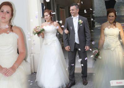 Charlotte : Mariage le 31 août 2013 à Villeneuve-Loubet avec le modèle Filou. – « Cette robe a été un vrai coup de cœur, j'ai reçu beaucoup de compliments sur la robe et les accessoires, merci à Gabriella pour sa gentillesse et douceur, et un très grand bravo à Elsa Gary pour ses créations délicates et originales » .