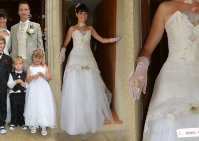 Chrystelle, (Antibes) : Notre mariage a eu lieu le Samedi 02 Juin 2012 à Antibes. Je portais la robe modèle « Fanny » qui m'a été conseillée et ajustée par Gabriella de la Boutique Elsa Gary de Nice. Je tiens à remercier très sincèrement Gabriella pour ses sourires, sa disponibilité, sa gentillesse et sa douceur.J'ai rêvé de ma robe durant plusieurs nuits et ce jour-là fut féérique ! Ma puce portait également une robe de la boutique et nous étions les « Stars » de la journée ! Tout le monde m'a trouvée rayonnante et je n'ai reçu que des compliments sur ma robe !! Chrystelle
