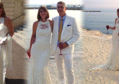 Claudine: Mariage le 4 Juillet 2015 à Cagnes/mer avec une robe en dentelle et large décolleté dos