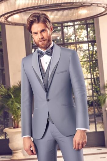 Costume de mariage 5 pièces coordonnées bleu gris
