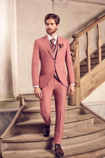 Costume de mariage 5 pièces coordonnées rose