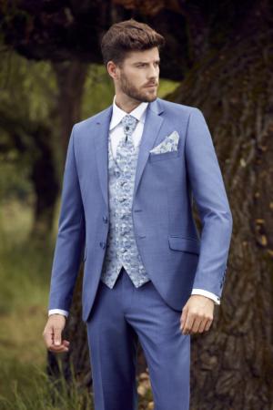 Costume de mariage 5 pièces coordonnées bleu jean