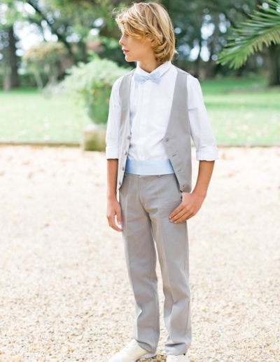 Ensemble gilet + pantalon mariage gris souris petit garçon - Caralys Nice - Alpes Maritimes (06)