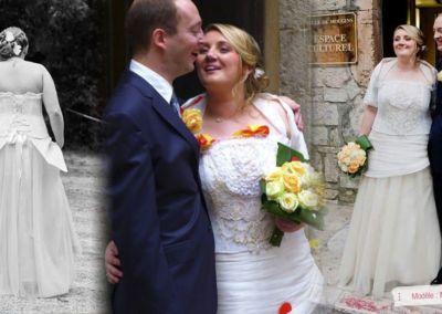 Emilie : Mariage le 28 Septembre 2013 à Mougins avec le modèle Malice. « Chère Gabriella, Je vous remercie vivement pour votre accueil chaleureux et vos conseils avisés pour ce jour unique. Ma merveilleuse robe était très agréable à porter et je n'ai eu que des compliments. Mon mari l'a adorée! Je ne pouvais rêver mieux pour une robe de mariée. Cette journée fut une réussite, je n'hésiterai pas à vous recommander! Encore merci pour votre accompagnement dans ce difficile parcours qu'est le choix de LA robe ! » Amicalement, Emilie