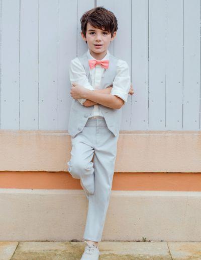 Ensemble gilet + pantalon mariage gris clair petit garçon - Caralys Nice - Alpes Maritimes (06)