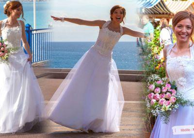 Johanna : Mariage le 5 Octobre 2013 à Annot (06) avec le modèle Mistral. « Merci Gabriella pour vos bons conseils, votre patience et votre disponibilité. J'ai beaucoup apprécié aussi votre boutique qui est un endroit charmant, qui met en confiance et qui est rassurant. C'est une des seules boutiques où l'on prend soin de la future mariée et c'est extrêmement agréable, pas de stress ni pour le temps d'essayage, ni pour acheter à tout prix. La robe Mistral a été un vrai bonheur à porter et un vrai plaisir aussi pour les yeux; tout le monde l'a trouvé magnifique, simple et unique à la fois !!! Continuez dans cette voie, toutes les futures mariées s'en verront ravies. Merci encore ! » Johanna