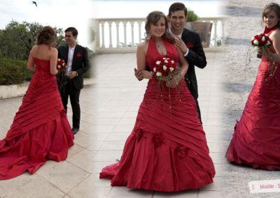Marine : Mariage le 28 Juin 2013 à Nice avec la composition Salomé / Nature en soie rouge.