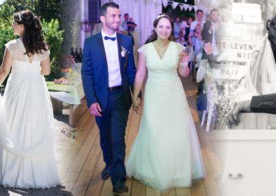 """Marlène: Mariage le 13 Aout 2016 avec le modèle Camille. """"Ma robe était parfaite, légère, fluide, très agréable à porter, les chaussures très confortables. J'ai reçu énormément de compliments concernant ma tenue. Merci beaucoup pour vos conseils et votre sympathie, je suis ravie d'avoir choisi ma robe dans votre boutique."""""""