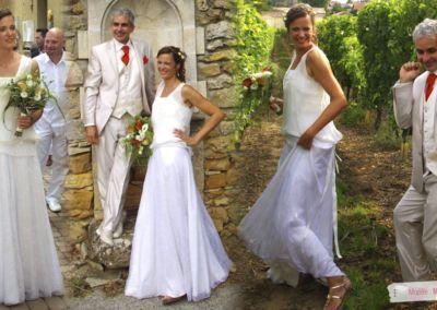 Nancy : Mariage le 2 Aout 2014 avec la robe Myrtille et le top Constance. « Merci encore pour vos conseils. La robe et le costume ont fait un super effet. Tout le monde a beaucoup aimé ! ».
