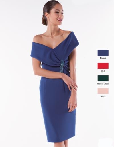 Robe de cocktail et cérémonie en crêpe - existe en  bleu denim, rouge, rose pâle, vert émeraude jusqu'au 48- Caralys Nice - Alpes Maritimes (06)