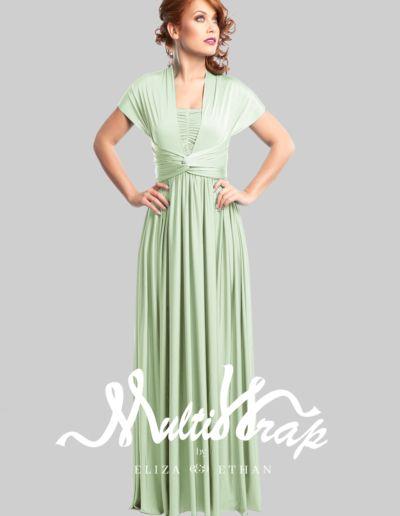 Diva sage vert - Robe de soirée et de demoiselle d'honneur - Caralys Nice - Alpes Maritimes (06)