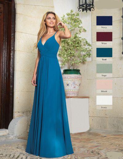 Robe longue de soirée, gala et cérémonie - existe en bleu turquoise, bordeaux, vert d'eau, rose blush, ivoire
