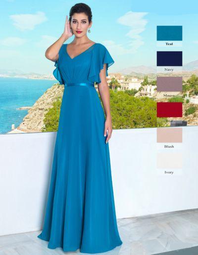 Robe longue de soirée, gala et cérémonie - existe en bleu turquoise, rouge, marine, ivoire, rouge, rose blush