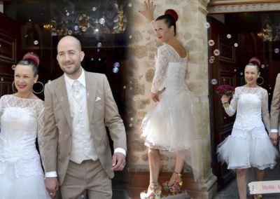 Virginie et Yoann : Mariage le 14 Juin 2014 à Montauroux avec le modèle Mistral et jupe courte.