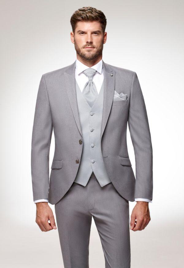 Costume de mariage 5 pièces coordonnées gris clair