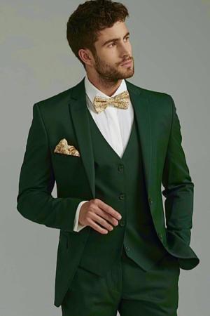 Costume de marié 3 pièces vert sapin