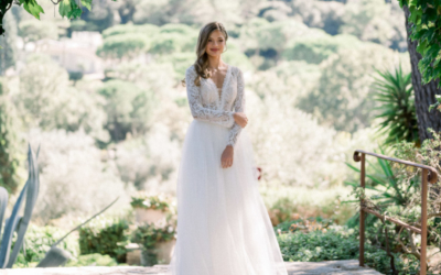 Collection robes de mariée 2021 : shooting avec Miss Côte d'Azur au Manoir de l'Etang