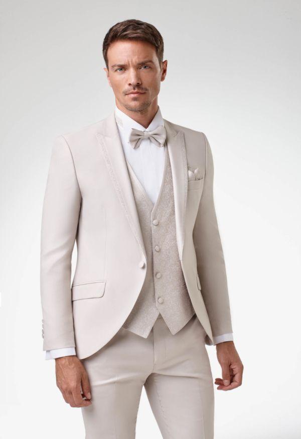 Costume de marié 5 pièces beige clair