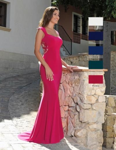 Robe de soirée et gala - existe en fushia, marine, bleu royal, emmeraude, ivoire - Caralys Nice