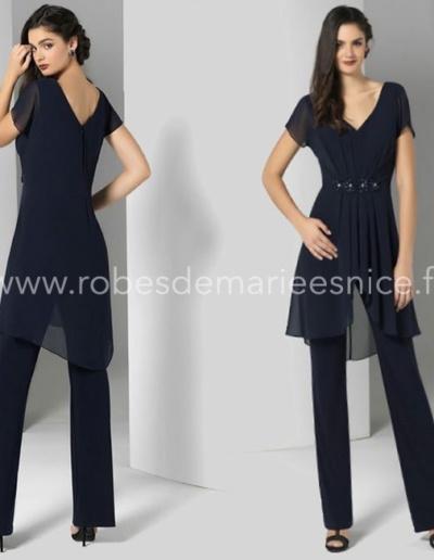 Combinaison pantalon fluide pour mariage et cérémonie bleu marine- existe en bleu royal - Caralys Nice Alpes Maritimes