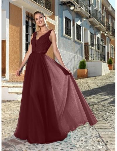 Robe de de soirée, gala ou cérémonie en dentelle et tulle bordeaux - esiste en rose, bleu royal, ivoire et turquoise - Caralys Mariage Nice