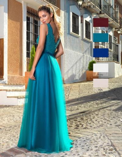 Robe de de soirée, gala ou cérémonie en dentelle et tulle turquoise - esiste en bordeaux, bleu royal, ivoire et rose - Caralys Mariage Nice